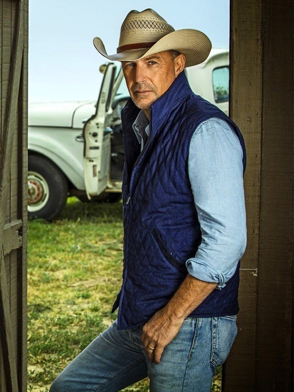 John Dutton Yellowstone Kevin Costner Blue Quilted Cotton Vest