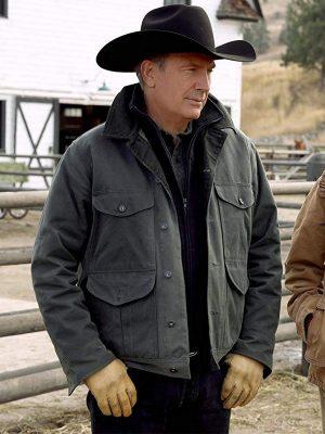 John Dutton Yellowstone Kevin Costner Green Cotton Jacket