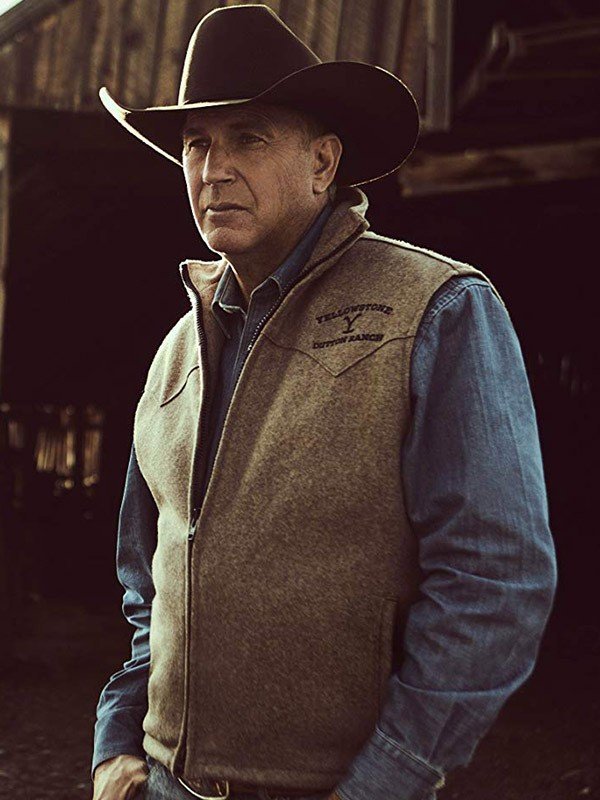 John Dutton TV Series Yellowstone Kevin Costner Wool Black Vest