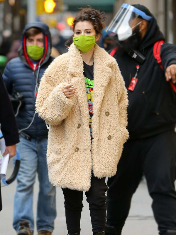 Selena-Gomez-Beige-Fur-Coat