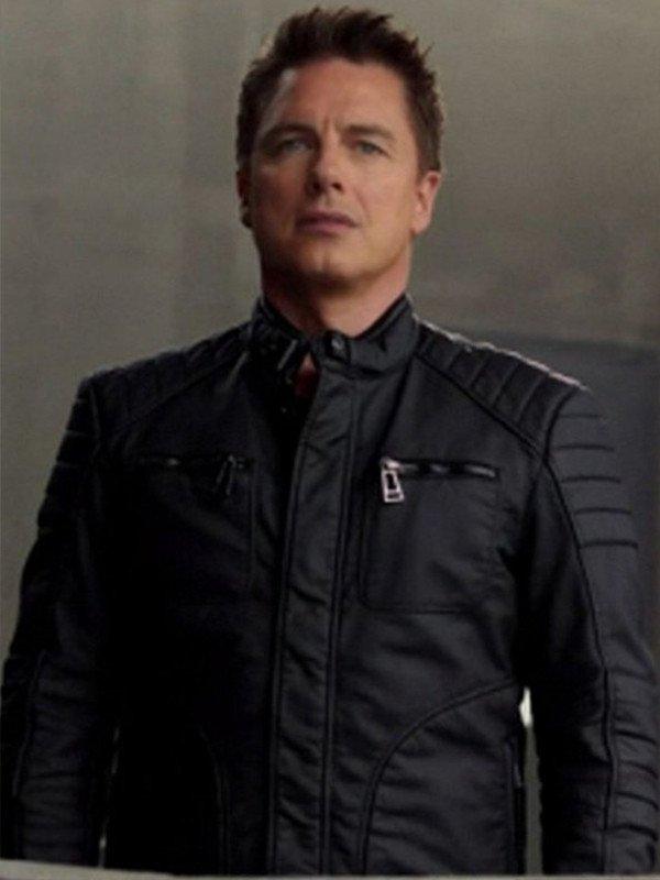 Malcolm Merlyn Arrow John Barrowman Black Leather Jacket