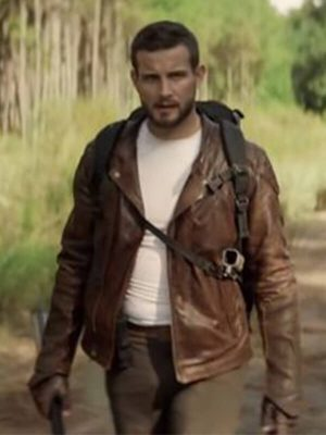 Felix Carlucci The Walking Dead Nico Tortorella Quilted Brown Leather Jacket
