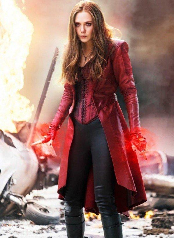 Elizabeth Olsen Civil War Scarlet Witch Red Leather Trench Coat