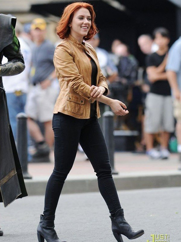 Scarlett Johansson The Avengers 2012 Black Widow Leather Jacket