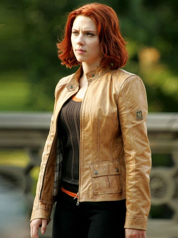 Black Widow The Avengers 2012 Scarlett Johansson Brown Slim-Fit Leather Jacket