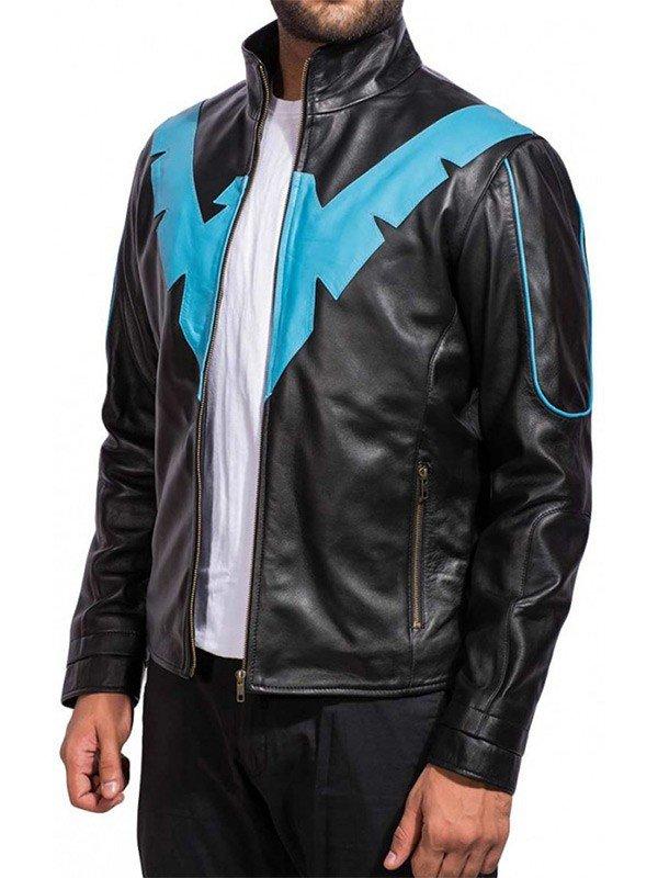Arkham Knight Nightwing Black Leather Jacket