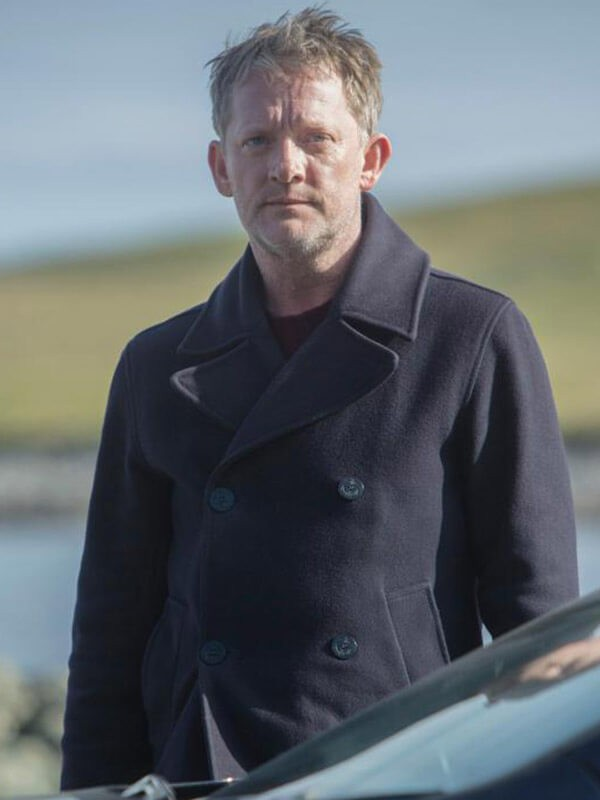 Douglas Henshall TV Series Shetland DI Jimmy Perez Black Wool Blend Peacoat