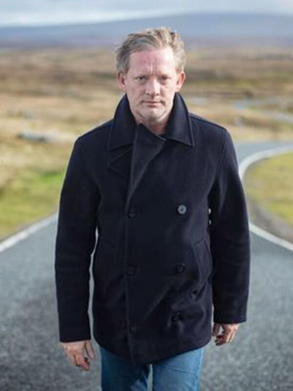 TV Series Shetland Jimmy Perez Black Double Breasted Peacoat