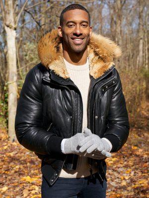 The Bachelor Matt James Hooded Fur Black Leather Jacket