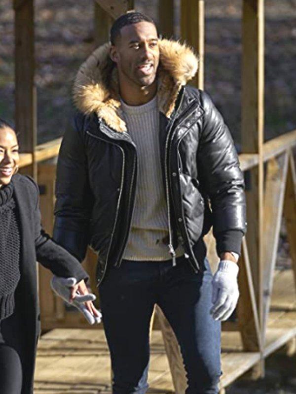 TV Series The Bachelor Matt James Black Hooded Shearling Leather Jacket