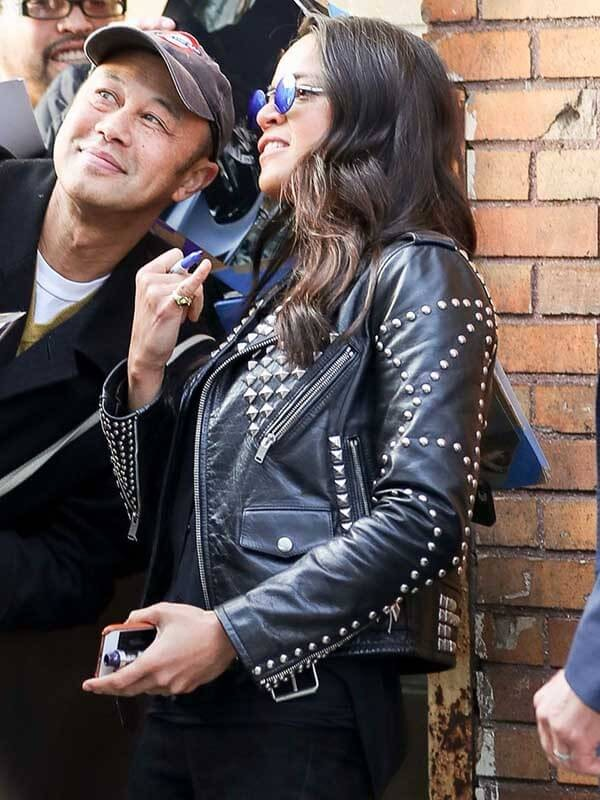 F9 the Fast Saga Michelle Rodriguez Studded Black Leather Jacket
