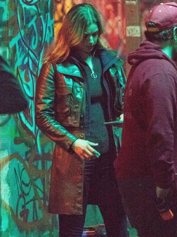 Emily VanCamp The Falcon and the Winter Soldier Black Leather Trench Coat