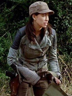 Rosita Espinosa The Walking Dead Christian Serratos Quilted Leather Jacket