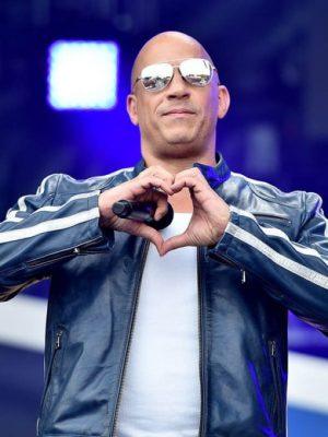 Vin Diesel The Road to F9 Fan Fest Blue Cafe Racer Leather Jacket