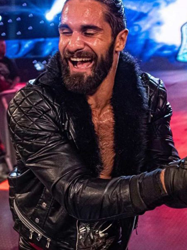 WWE Seth Rollins Shearling Quilted Black Leather Jacket