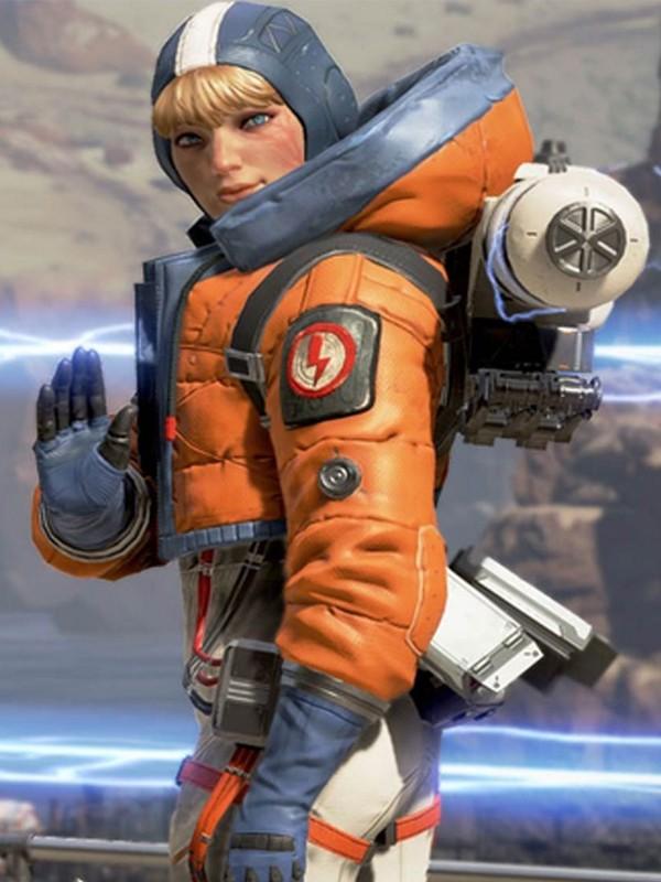 Video Game Apex Legends Wattson Orange Leather Hooded Jacket