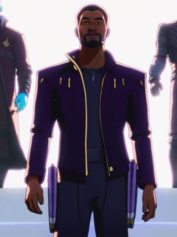 What If Star Lord Chadwick Boseman Purple Leather Jacket