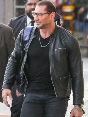 WWE Wrestler Dave Batista Black Leather Jacket