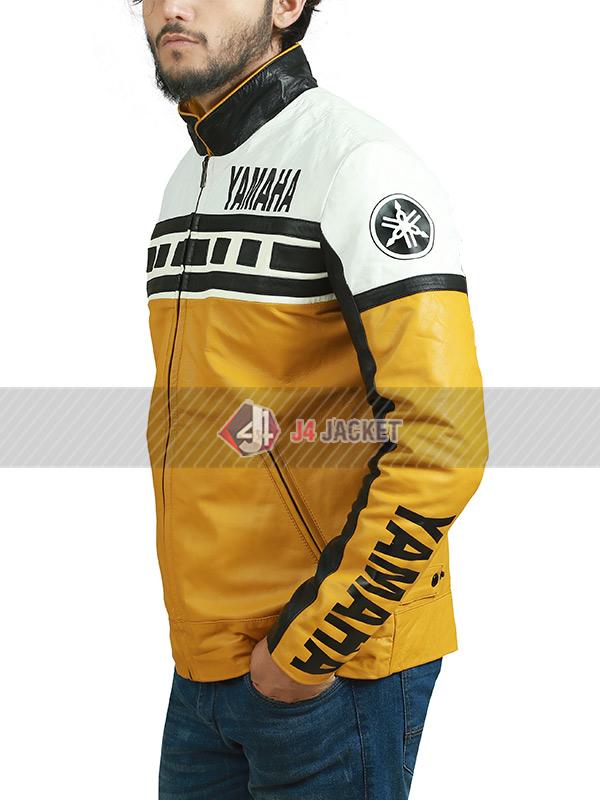 Biker Racer Yamaha Motorcycle Vintage Tricolor Leather Jacket