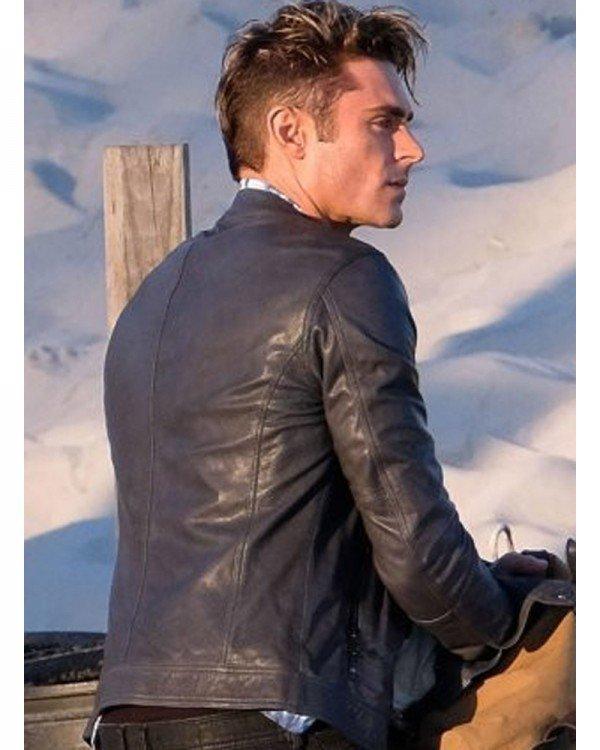 Matt Brody Baywatch 2017 Zac Efron Blue Slim-fit Leather Jacket