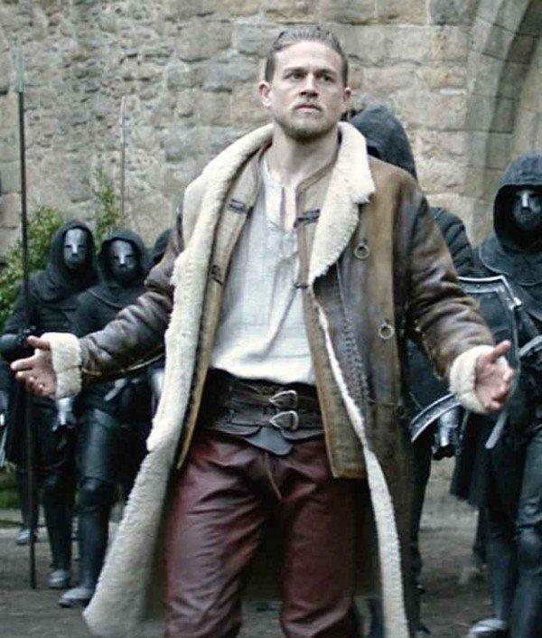 Arthur King Arthur Legend of the Sword Charlie Hunnam Shearling Brown Coat