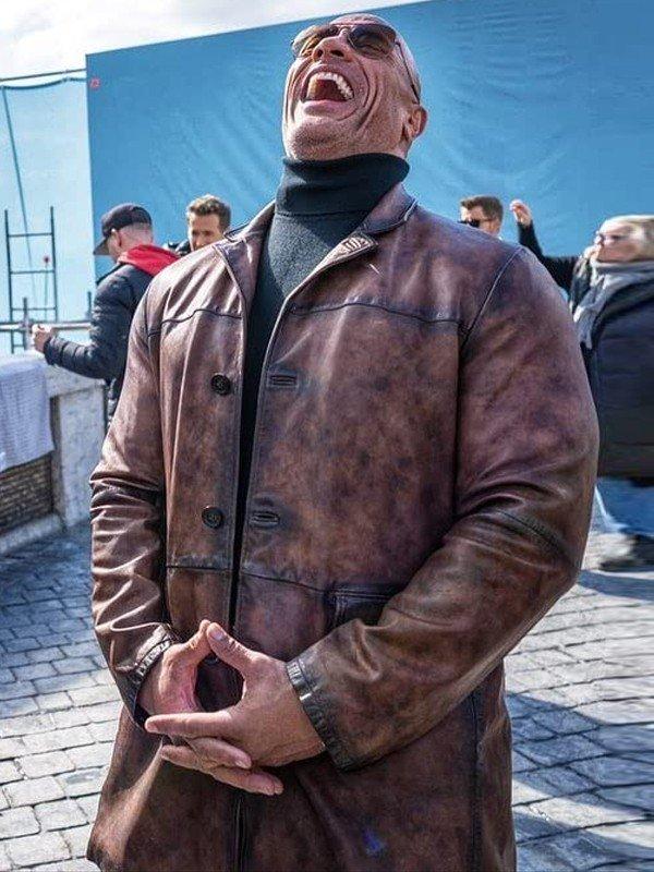 Dwayne Johnson Red Notice 2021 John Hartley Brown Distressed Leather Jacket