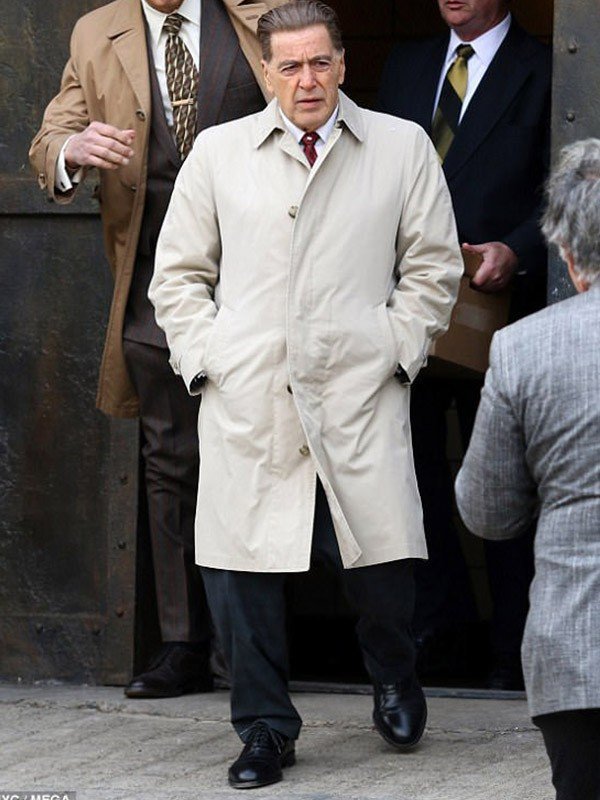The Irishman 2019 Al Pacino White Cotton Trench Coat