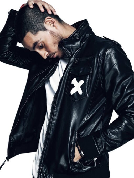 American Actor Manny Montana Bomber Black Leather Jacket