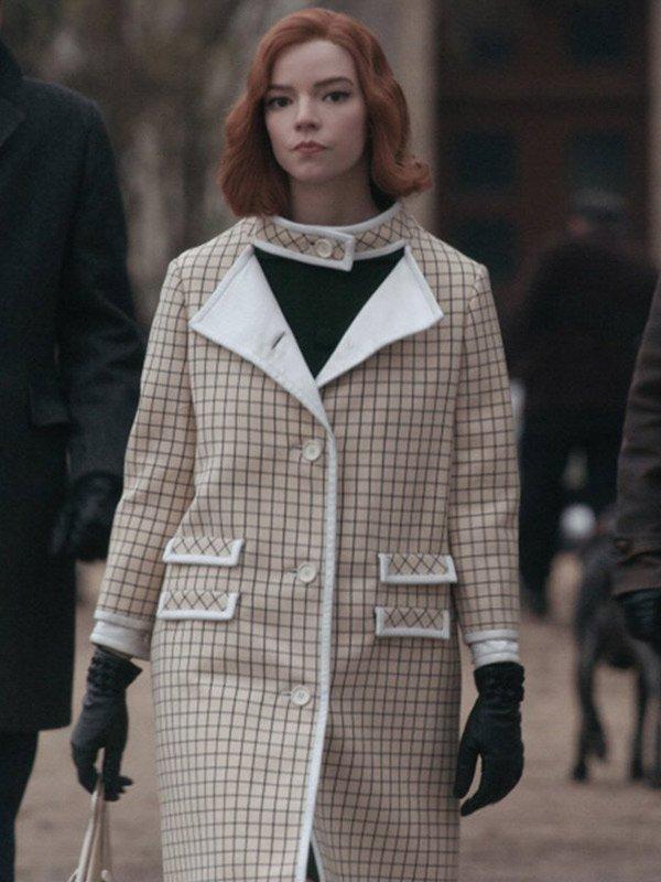 TV Series The Queen's Gambit Anya Taylor-Joy Checkered Wool Coat