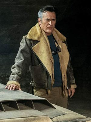 Ash Williams Ash vs Evil Dead Bruce Campbell Brown Shearling Leather Jacket