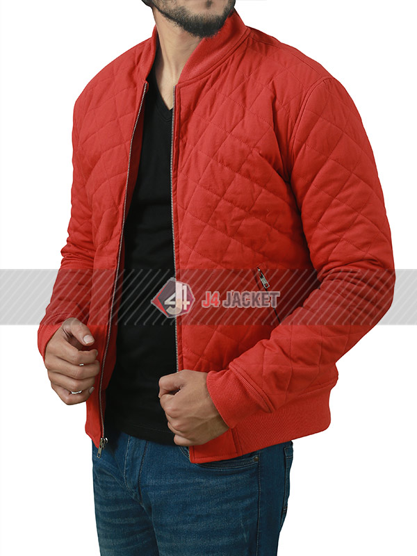 Grant Gustin The Flash Barry Allen Red Quilted Jacket