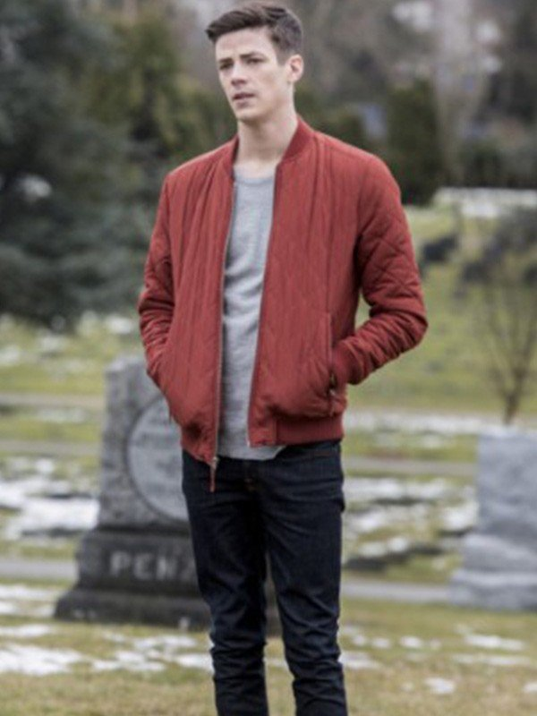 Grant Gustin The Flash Barry Allen Red Quilted Bomber Jacket