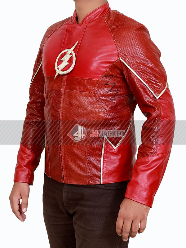 Grant Gustin The Flash Barry Allen Red Real Leather Jacket