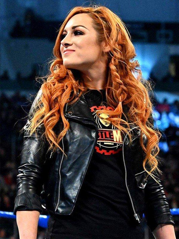 WWE Wrestler Becky Lynch Motorcycle Black Leather Jacket