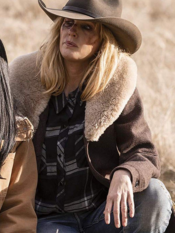 Kelly Reilly TV Series Yellowstone Shearling Brown Wool Coat