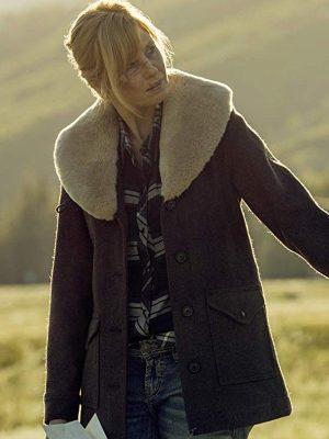 Beth Dutton TV Series Yellowstone Season 02 Kelly Reilly Brown Wool Coat