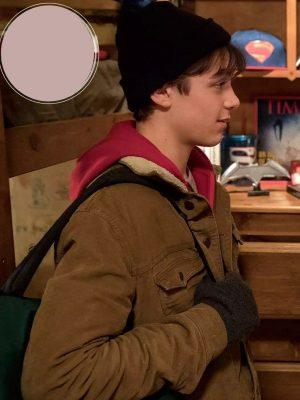 Billy Batson Shazam 2019 Asher Angel Brown Shearling Jacket