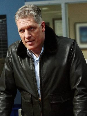 Capt. William Hadley The Guardian Clancy Brown Shearling Leather Jacket
