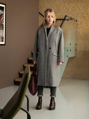 Kaley Cuoco TV Series The Flight Attendant Gray Wool Coat