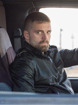 Sebastian Stan Destroyer Movie 2018 Chris Black Leather Jacket