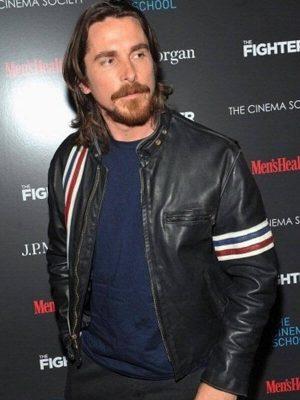 Christian Bale 3 Stripe Design Black Leather Jacket
