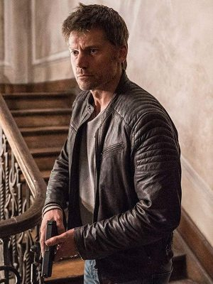Nikolaj Coster-Waldau Domino 2019 Brown Leather Jacket