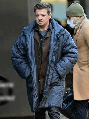 Jeremy Renner TV Series Hawkeye 2021 Clint Barton Blue Parachute Coat