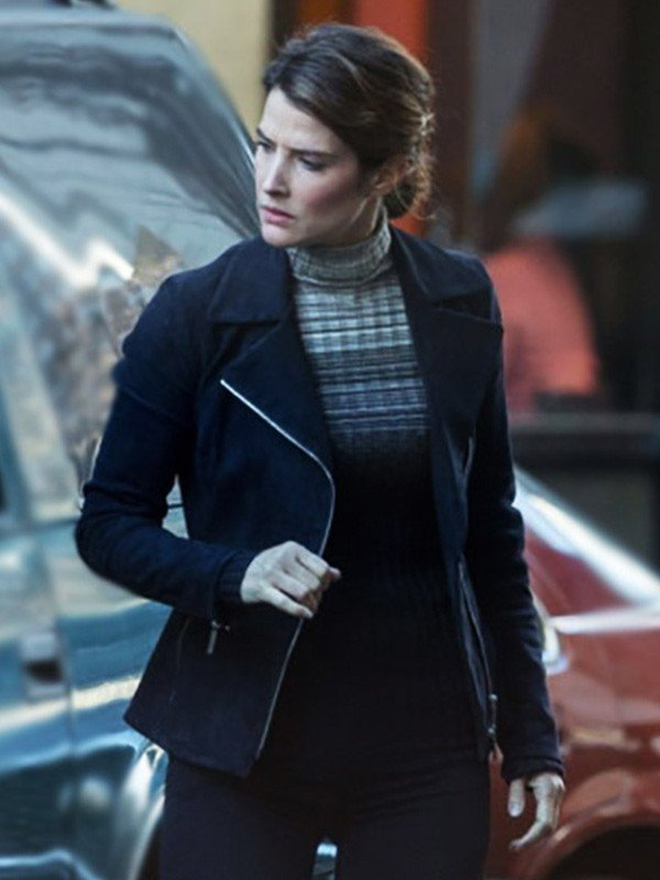 Cobie Smulders Spiderman Far from Home Movie Maria Hill Black Leather Jacket
