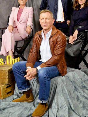 Detective Benoit Blanc Knives Out 2019 Daniel Craig Brown Leather Jacket