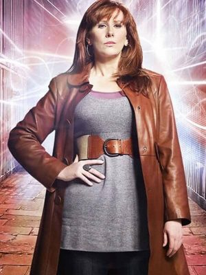 Catherine Tate TV Series Doctor Who Donna Noble Brown Leather Trench Coat