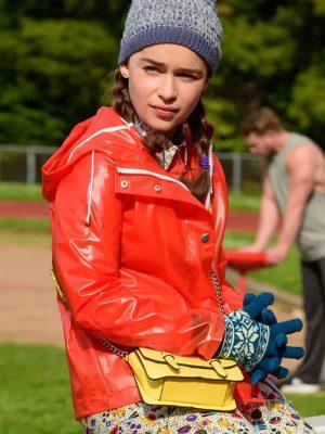 Louisa Clark Me Before You Emilia Clarke Red Hooded Jacket