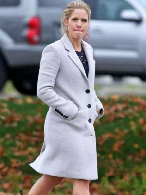 Arrow Season 06 Felicity Smoak White Wool Trench Coat