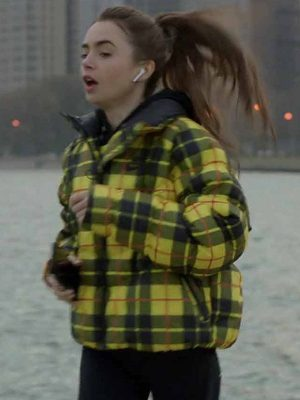 Lily Collins Emily in Paris Season 01 Emily Cooper Yellow Plaid Jacket