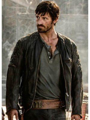 Eoin Macken Action Film Resident Evil the Final Chapter Black Leather Jacket